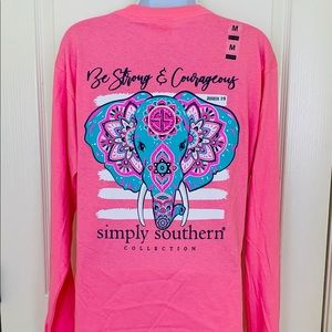 Simply Southern Long Sleeve Tee Shirt SZ M Pink